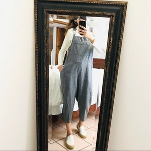 CHICOS STRIPED OVERSIZED CLIP OVERALLS